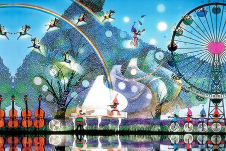 Seiji Fujishiro  藤城清治「風の中の白いピアノ」(2001)