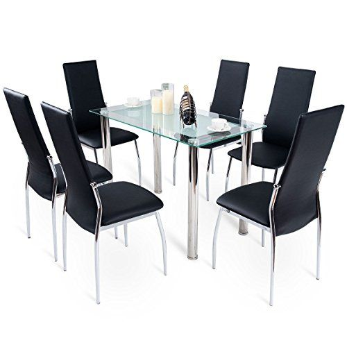 Md Group Dining Set Tempered Glass Top Table 6 Chairs Stainless