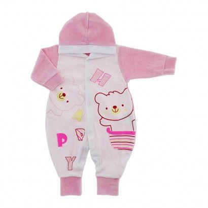 Macacão de Plush para Bebê com Capuz Happy - 9032 - Rosa   Cegonha Encantada