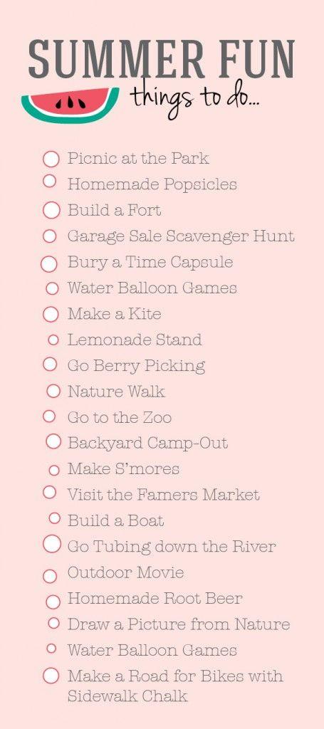 summer bucket list - fun family activities