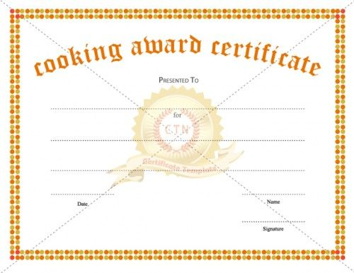 Looking for a Cooking Award Certificate Template for appreciating - blank award certificates