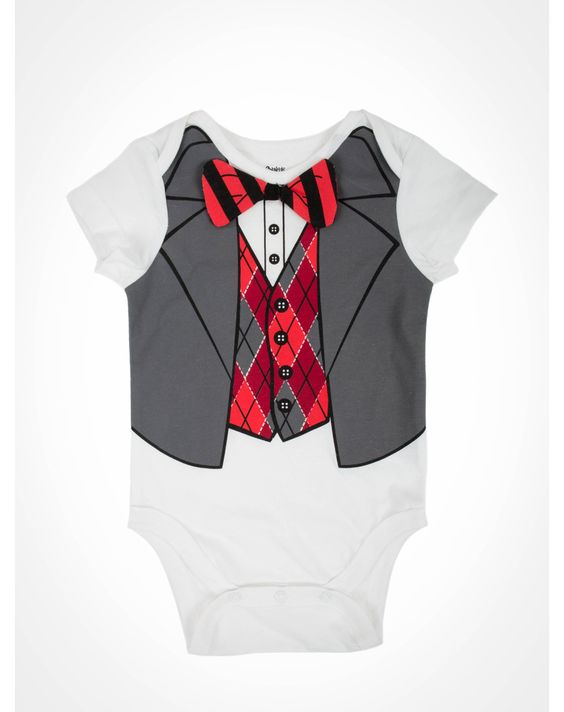 Party points to ME! I just found the Red & Grey Bowtie Vest Infant Snapsuit from Spencer's. Visit their mobile website to get this item and more like it.