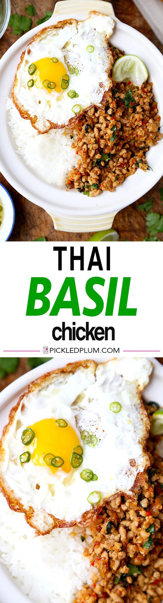 Thai Basil Chicken - This easy Thai basil chicken recipe is based on the classic Thai Krapow Gai Kai Dow dish. Its hot, pungent, salty and smoky. Squeeze a little fresh lime juice on top and your taste buds will be dancing in no time! Easy, Thai, recipe, chicken | pickledplum.com