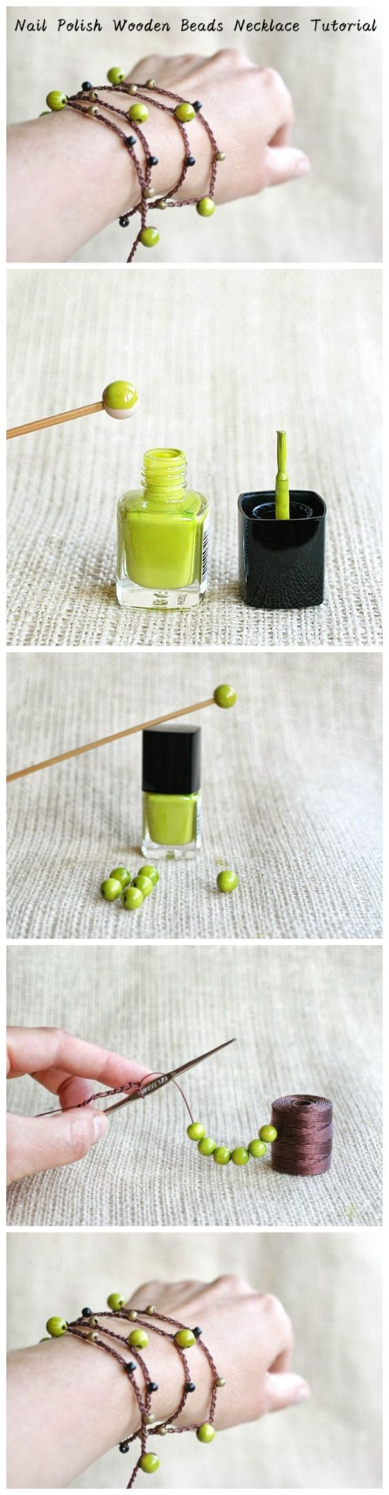 Nail Polish Wooden Beads #Necklace #Tutorial