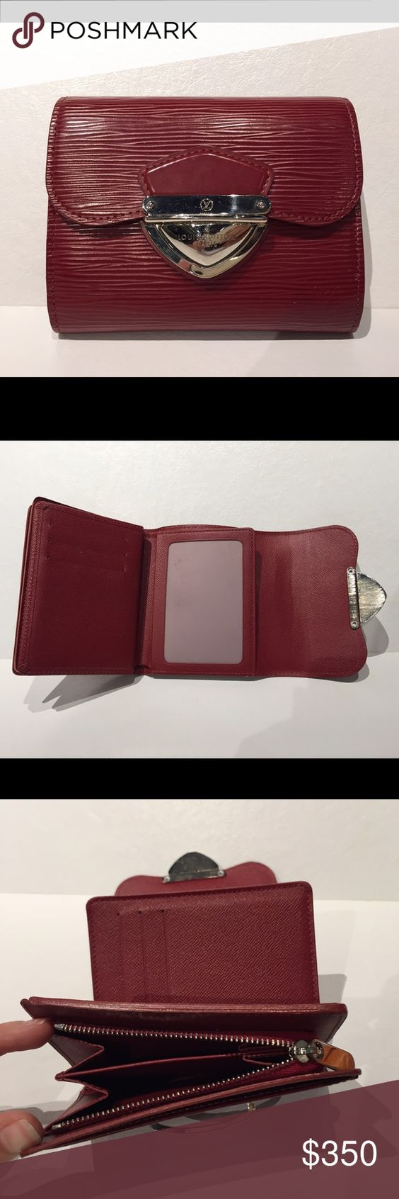 Louis Vuitton dark red epi trifold Koala wallet Delicious deep cherry red Louis Vuitton epi trifold Koala wallet with silver tone hardware. Has 9 card slots, a clear ID holder, and a zip coin pouch. Great condition with barely any signs of wear. Louis Vuitton Bags Wallets