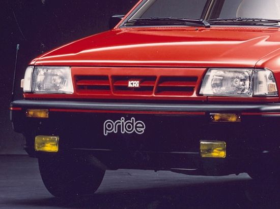 Kia's 'three waves' logo placed on the 1990s Kia Pride (first generaton Rio) http://kia-buzz.com/