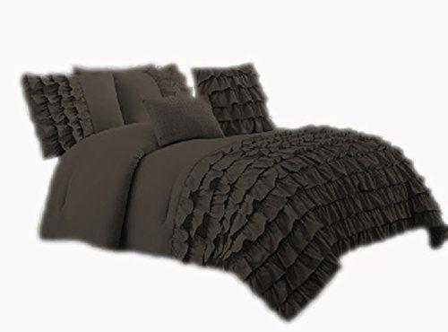 650 Thread Count Premium Waterfall Half Ruffle Duvet Cover California King 100 Egyptian Cotton Dark Gray Ruffle Duvet Cover Ruffle Duvet Duvet Cover Sets