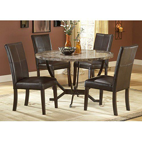 Hillsdale Monaco Round Faux Marble 5-Piece Dining Set,-Chairs