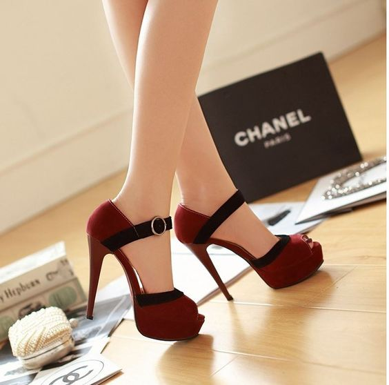 Wine Red Buckle Strap High Heel Sandals $58.75