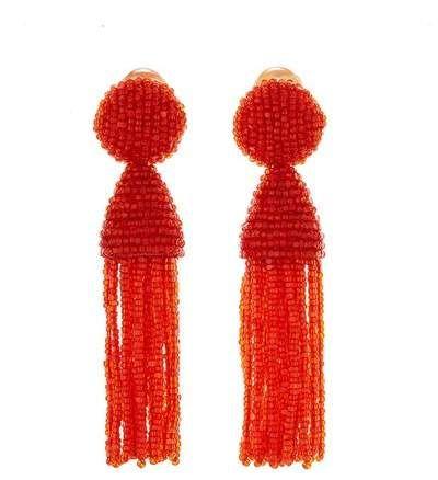 Persimmon Short Beaded Tassel Earrings By Oscar De La Renta Beaded Tassels Beaded Tassel Earrings Tassel Earrings