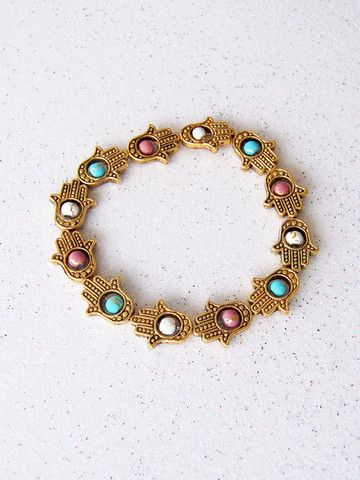 Gold Hamsa Bracelet with Turquoise, Pink and White Beads | Black Tied