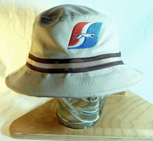 Vtg-Greyhound-Bus-Bucket-Hat-Tan-Brown-Canvas-Rain-Cap-Company-Logo-Adjustable