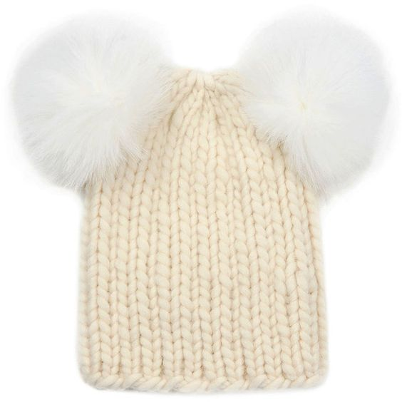 Eugenia Kim Mimi Knit Hat with Fur Pompoms ($101) ❤ liked on Polyvore featuring accessories, hats, cream, eugenia kim, fur pom pom hat, knit pom hat, eugenia kim hat and knit hats