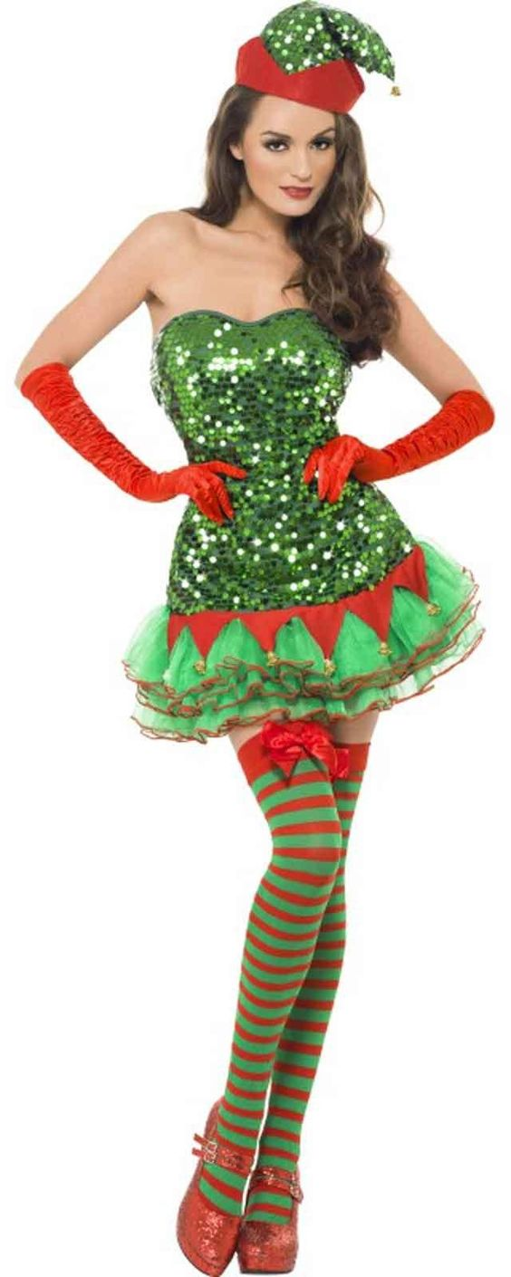Sequin elf adult holiday costume from costumeexpress