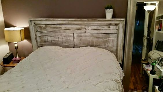 Queen headboard made from reclaimed wood