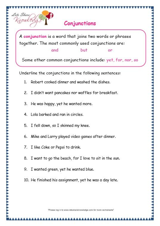 Grade 3 Grammar Topic 19 Conjunctions Worksheets With Images