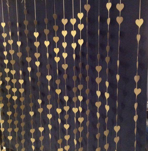 Gold hearts photo booth backdrop. Wedding curtain, Ceremony backdrop, Paper Hearts Curtain, Photography Backdrop, DYI Photobooth