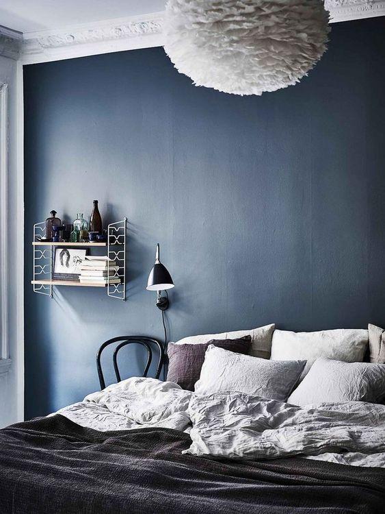 41 Modern Scandinavian Bedroom Design Ideas Molitsy Blog Blue Bedroom Walls Blue Accent Walls Bedroom Design
