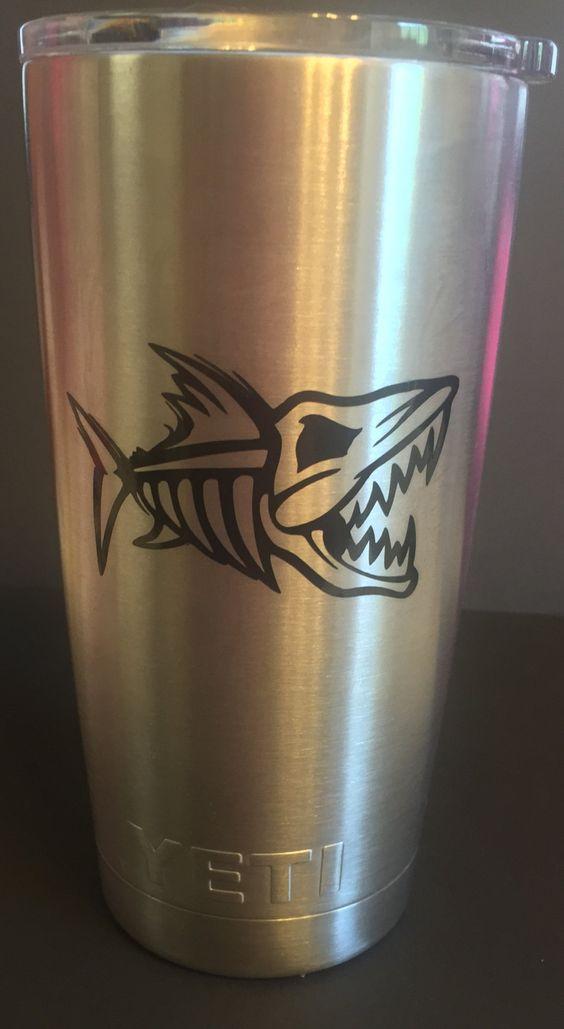 Skeleton Fish Personalized Yeti Tumbler With Monogram Initials Or - Yeti tumbler stickers