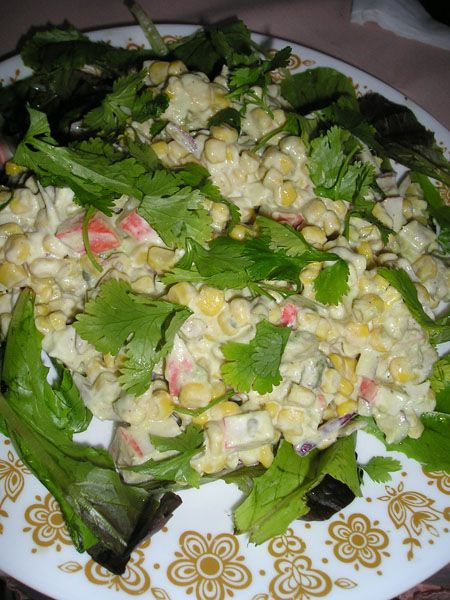 ❣sabores - Crab Avocado and Corn Salad with Cilantro and Lime