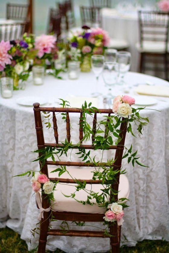 Whimsical Wedding Chair Decor Greenery And Pink Flower Chair Decor Sebesta Whimsical Wedding Decorations Wedding Chair Decorations Wedding Reception Chairs