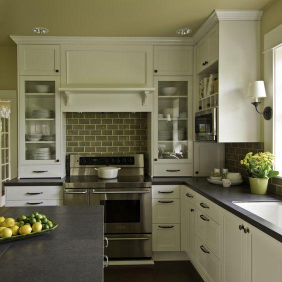 Modernized Bungalow Kitchen Renovation: Grey Subway Tiles, Stove And Subway Tile Backsplash On