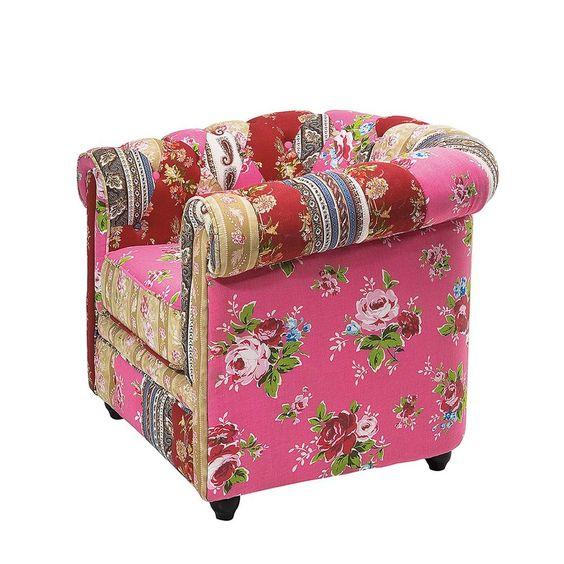 Kare Design Sessel Patchwork Bunt 100% Baumwolle Fernsehsessel
