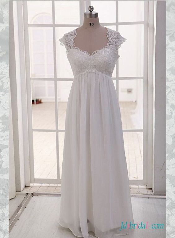 H1509 Simple empire plus size chiffon wedding dress with sleeves