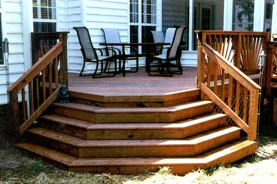 Railing design the shape and decks on pinterest for Pre built stairs