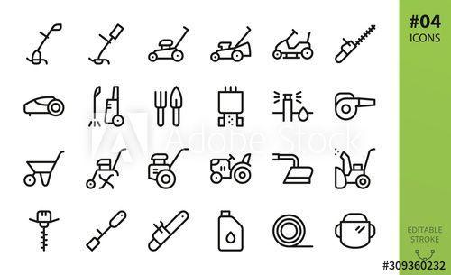 Garden Tools Icons Set Garden Gardeningtoolsicon Icons Set Tools