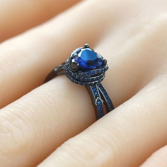 Vancaro - Heart Cut Lab-created Blue Sapphire Black ...