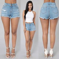 Summer Fashion Women Sexy High Waist Jeans Hole Pants Casual Denim Shorts Short:
