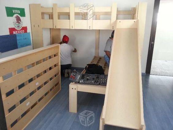 Literas de 3 camas con resbaladilla recamaras para ni os for Manual para hacer una cama de madera