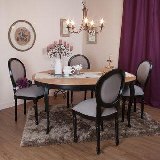 Table à manger à rallonge ronde en bois L120cm avec plateau en bois massif PAULINE