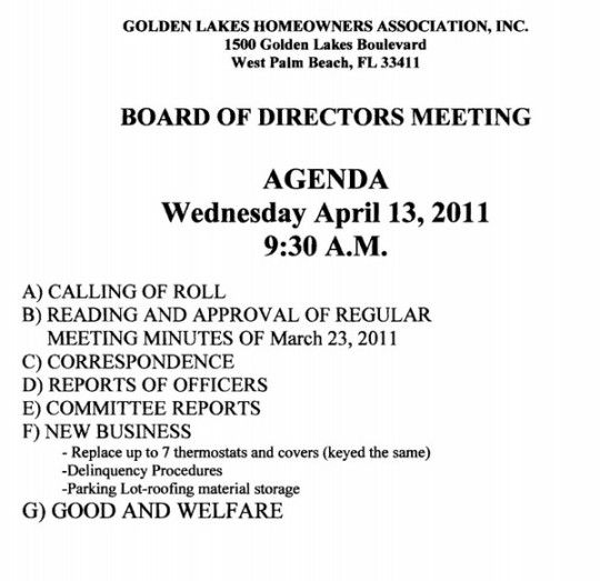 Image Result For Hoa Meeting Format Board Meeting Meeting
