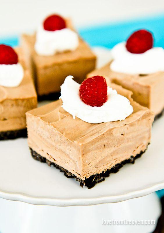 No Bake Frozen Chocolate Mousse Squares
