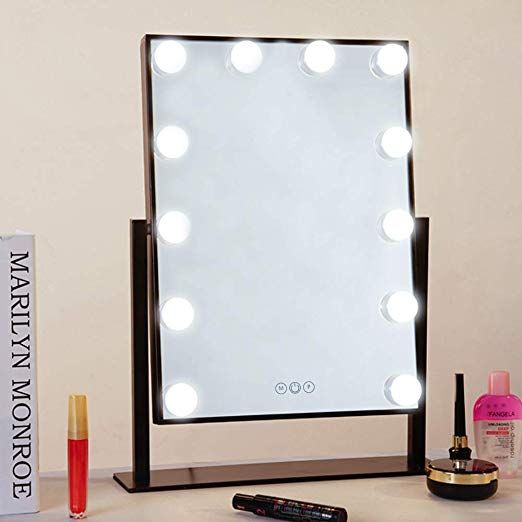 Fenchilin Lighted Makeup Mirror Hollywood Mirror Vanity Makeup Mirror With Light Smart Touch Contro Mirror With Lights Makeup Mirror With Lights Dimable Lights