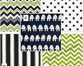 Baby Boy Girl Crib Bedding in Navy Lime Elephants Chevron