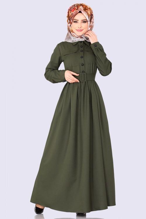 Modaselvim Elbise Beli Buzgulu Cepli Elbise 1013bgs354 Haki Fashion Pakistani Fashion Hijab Fashion