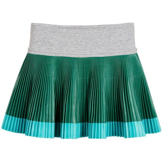 Pan Con Chocolate - Girls Green Pleated Skirt   Childrensalon