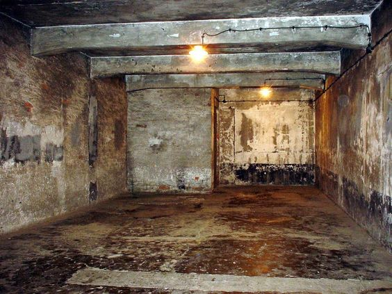 The horrible gas chambers at Auschwitz. Used for the first time in 1941.  I visited Auschwitz in October 2009. Ran chills down my spine! :-(