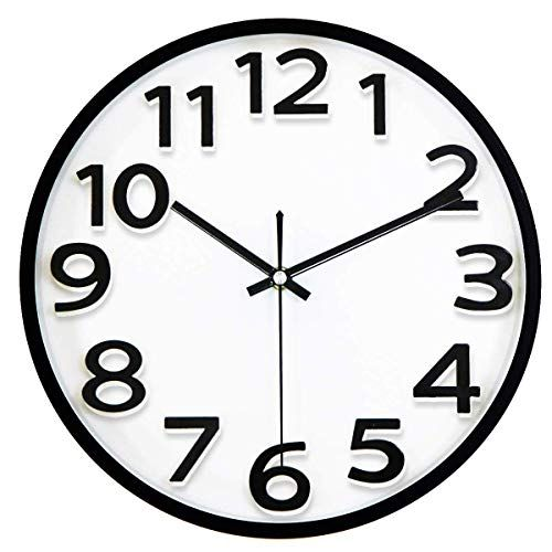 Lucor 12 Inches Large Wall Clock Non Ticking Silent Quartz Decorative Clocks Battery Operated Round Retr In 2020 Wall Clocks Living Room Large Wall Clock Wall Clock