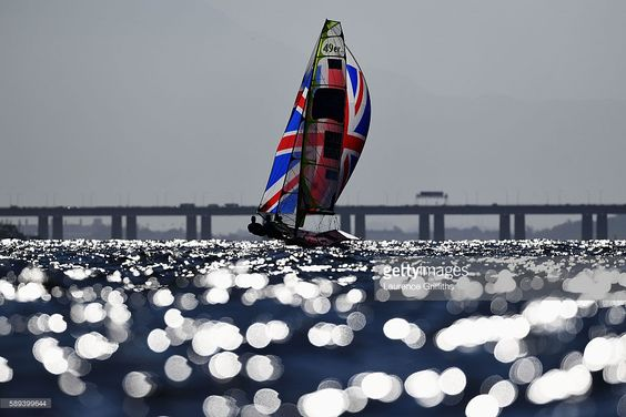 Dylan Fletcher-Scott of Great Britain and Alain Sign of Great Britain compete in the Men's 49er class on Day 8 of the Rio 2016 Olympic Games at the Marina da Gloria on August 13, 2016 in Rio de Janeiro, Brazil.