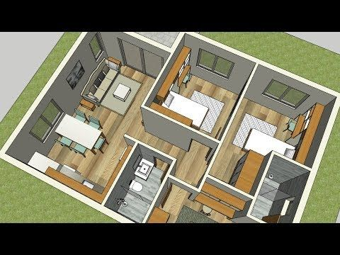 Plans 3d Interior Of The House With 3 Bedrooms And 2 Bathrooms Youtube House Plans Small House Design Three Bedroom House Plan