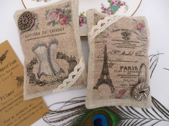Handmade Set of 2 Lavender Scented Sachets Bags Natural ...