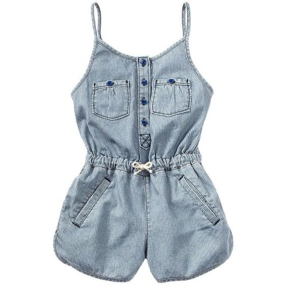 406ae85f5d9 Denim Tank Romper 7-14 (€32) ❤ liked on Polyvore featuring baby ...