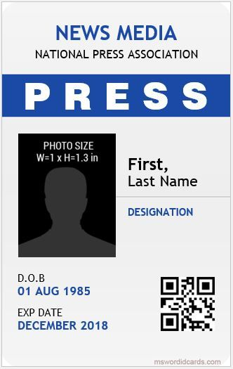 10 Best Press Reporter Id Card Templates Microsoft Word Id Card Templates Id Card Template Card Templates Identity Card Design