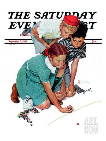 """Marble Champion"" or ""Marbles Champ"" Saturday Evening Post Cover, September 2,1939 Giclee Print by Norman Rockwell at Art.com"