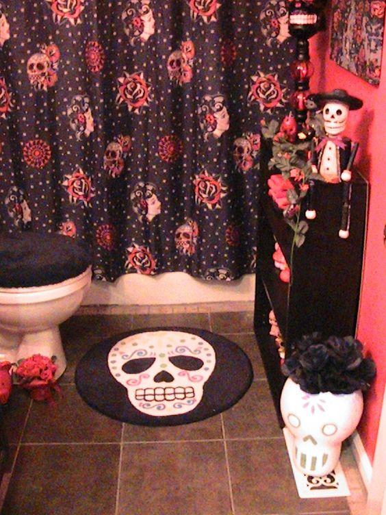 Day Of The Dead Bathroom Decor Bathroom Pinterest Bathrooms Decor Head To And Cute Curtains