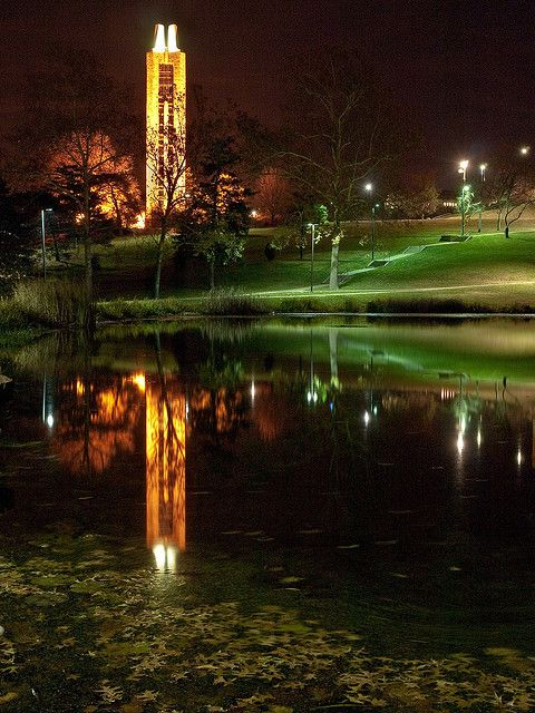 Campanile and Potter Lake - University Of Kansas by Phil In Kansas, via Flickr